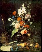 HEEM, Jan Davidsz. de Flower Still-life with Crucifix and Skull af oil painting